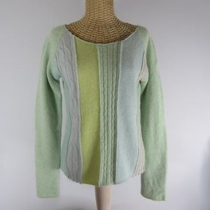 Free People L Green Gray Blue Wool Cable Sweater